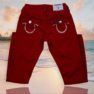 True Religion Red Jeans Swarovski Crystals Size 26